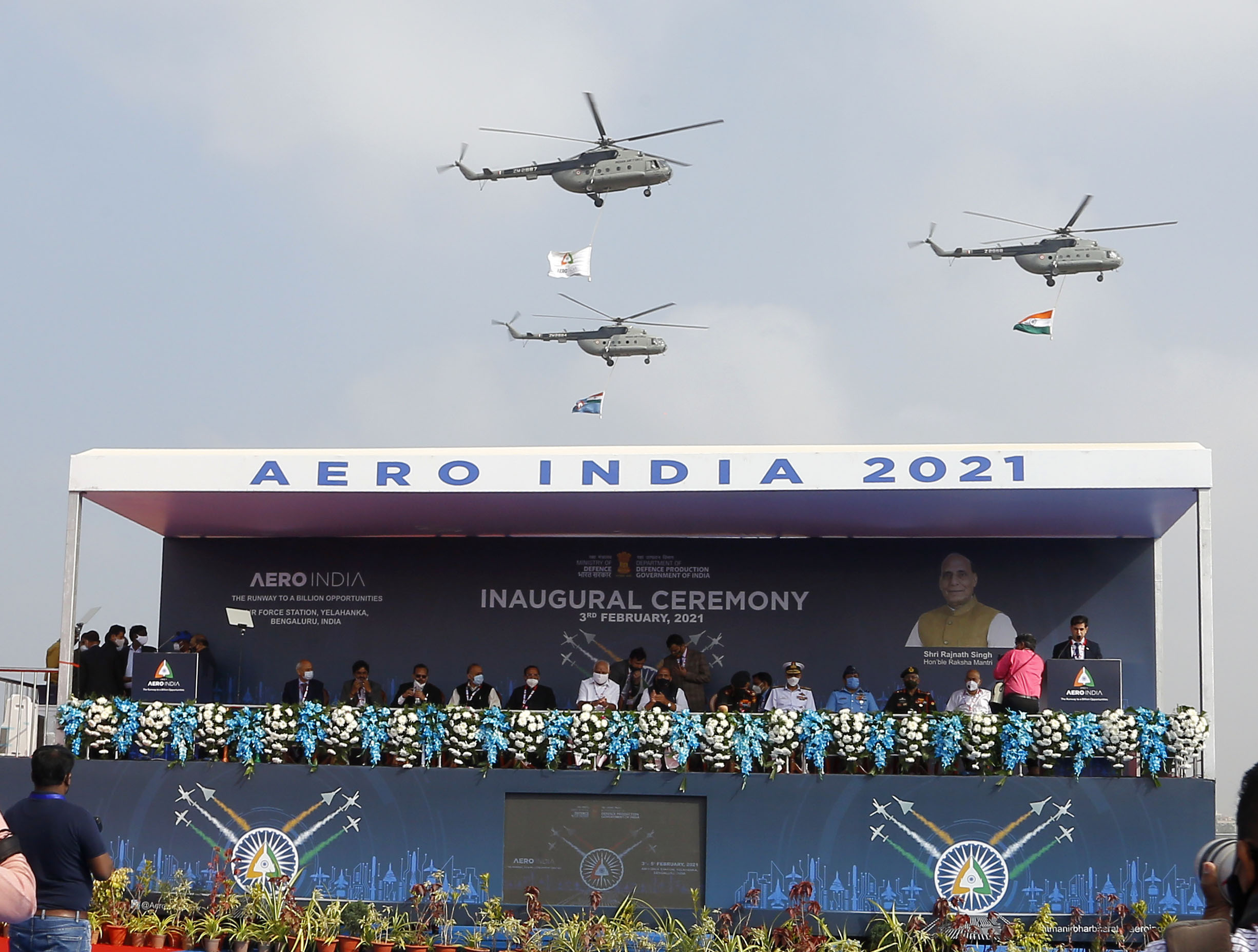 The Union Minister for Defence, Shri Rajnath Singh inaugurates the biennial air show, Aero India 2021, at the Air Force Station, Yelahanka, in Bengaluru on February 03, 2021.	The Union Minister for Chemicals and Fertilizers, Shri D.V. Sadananda Gowda, the Chief Minister of Karnataka, Shri B.S. Yediyurappa, the Chief of Defence Staff (CDS), General Bipin Rawat and other dignitaries are also seen.