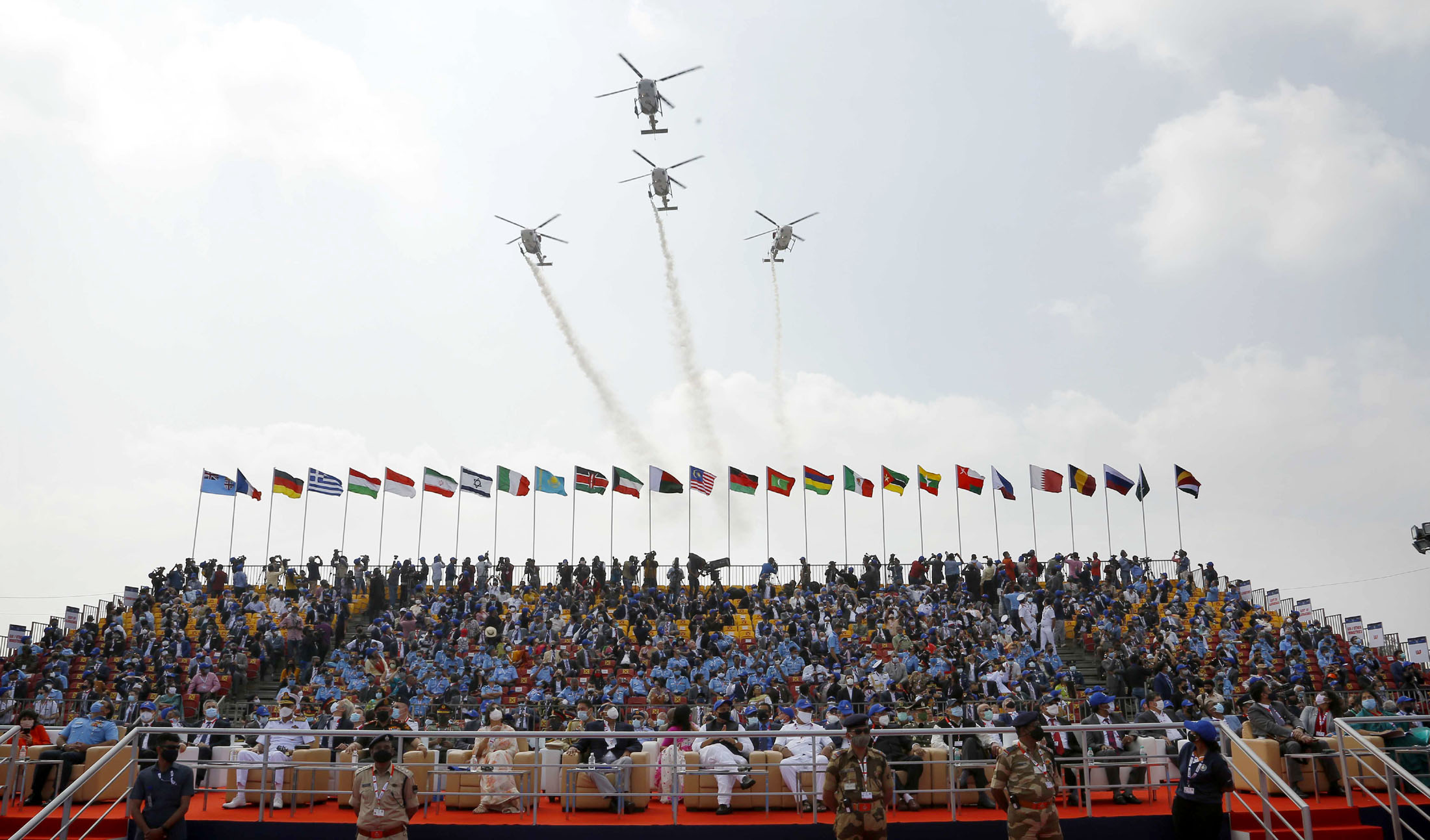 The Union Minister for Defence, Shri Rajnath Singh at the Aero India 2021 biennial Air Show, at the Air Force Station, Yelahanka, in Bengaluru on February 03, 2021.