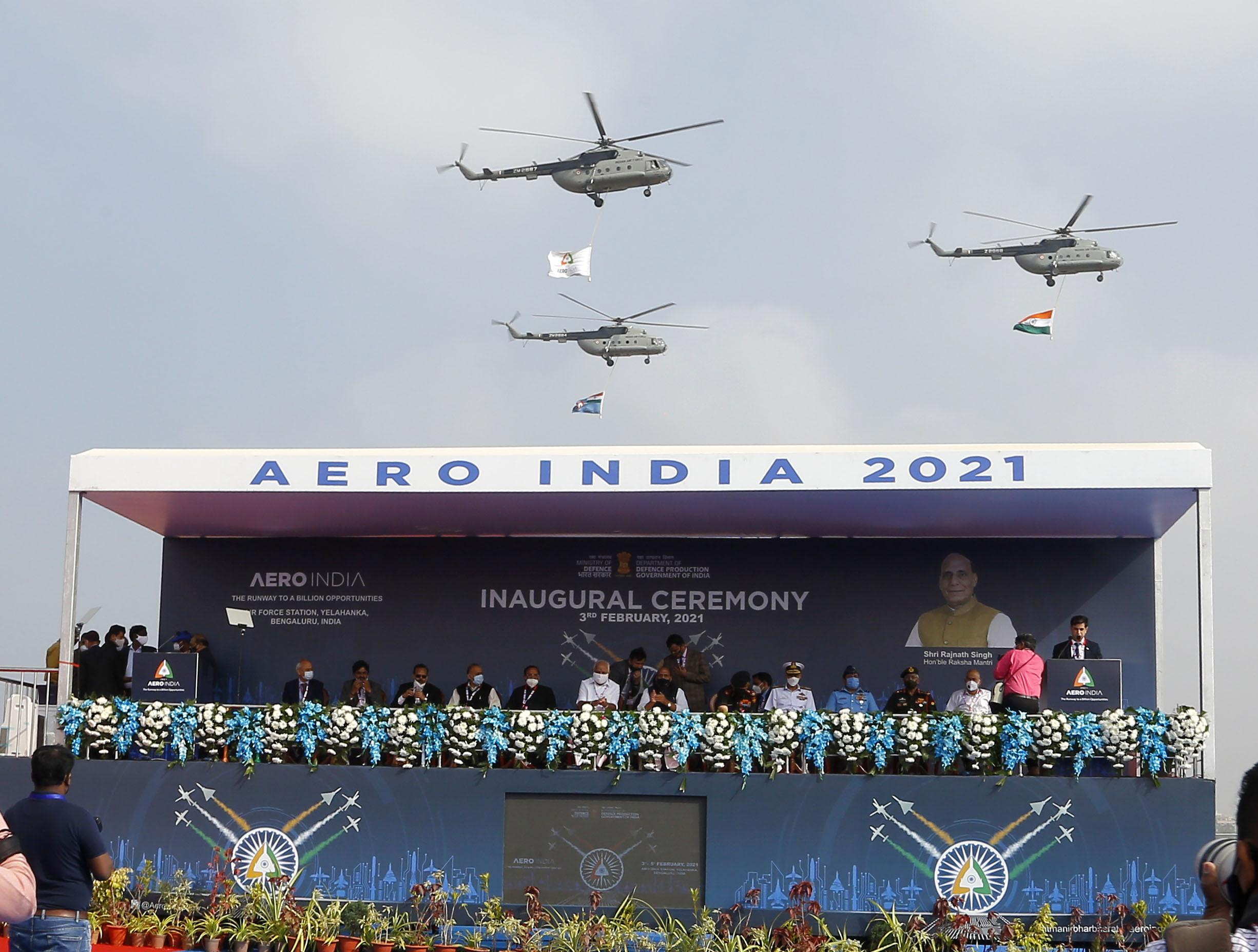 The Union Minister for Defence, Shri Rajnath Singh inaugurates the biennial air show, Aero India 2021, at the Air Force Station, Yelahanka, in Bengaluru on February 03, 2021.The Union Minister for Chemicals and Fertilizers, Shri D.V. Sadananda Gowda, the Chief Minister of Karnataka, Shri B.S. Yediyurappa, the Chief of Defence Staff (CDS), General Bipin Rawat and other dignitaries are also seen.