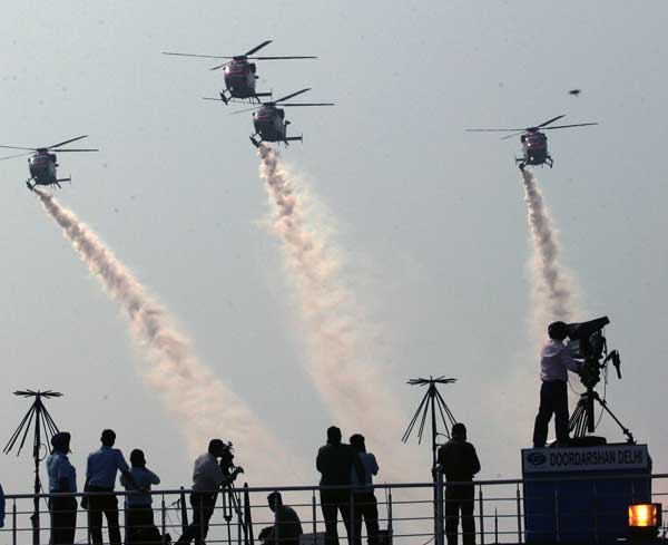 Glimpses of Air Force Day Parade full dress rehearsal at Air Force Station...
