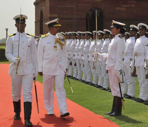 Vice Admiral PK Chatterjee taking Guard of Honour