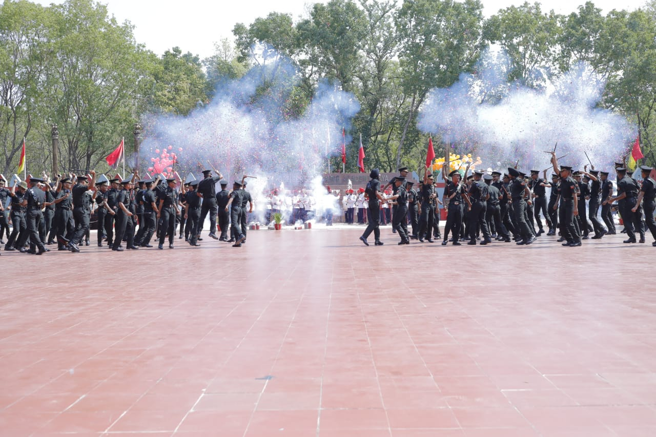 Newly Commissioned Officers' from 15th Passing Out Parade exuberant after culmination of Pipping Ceremony at Officers' Training Academy, Gaya on 08 Jun 2019