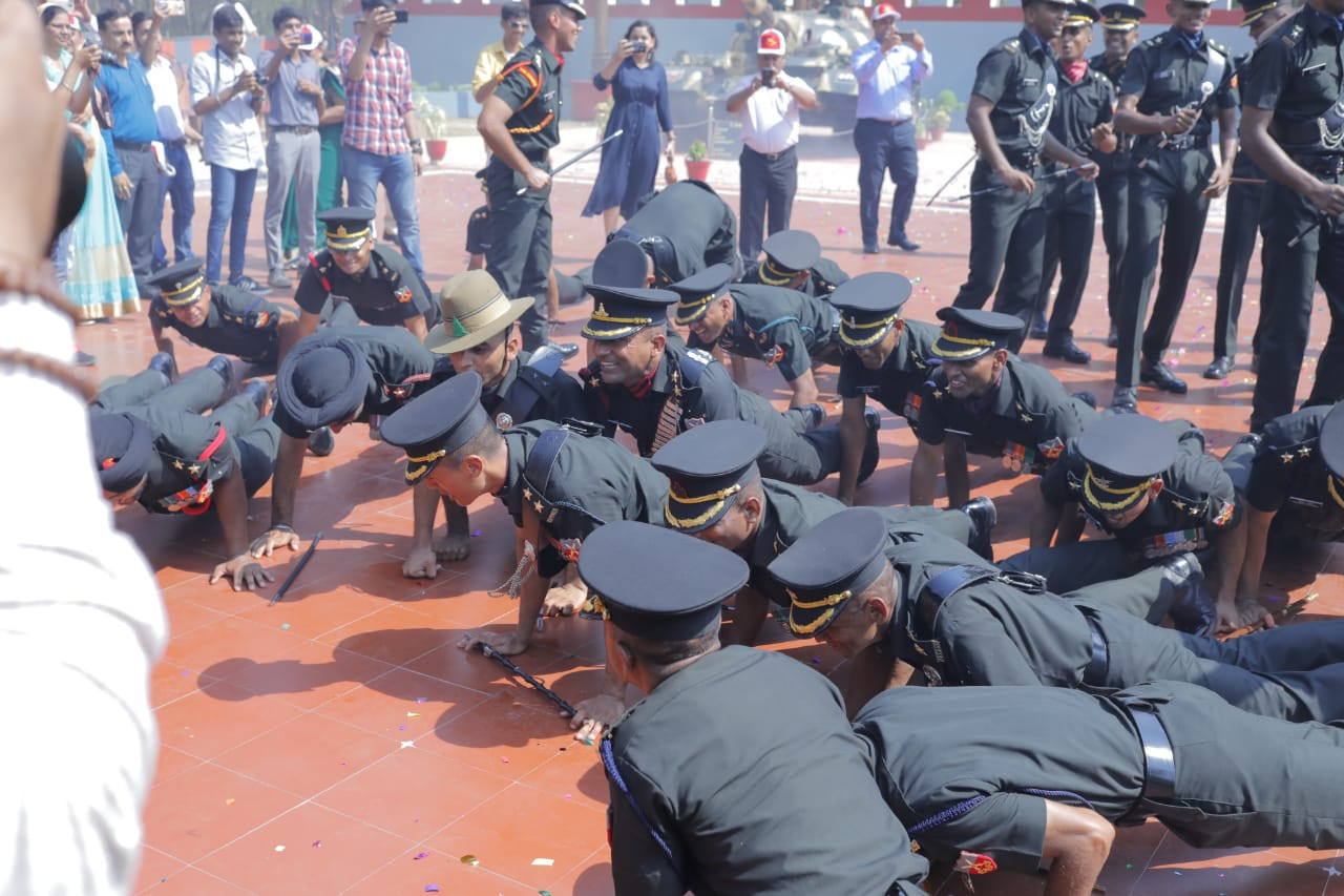 Newly Commissioned Officers from the Technical Entry Scheme Course Celebrating at OTA, Gaya after Passing Out Parade on 08 Jun 2019