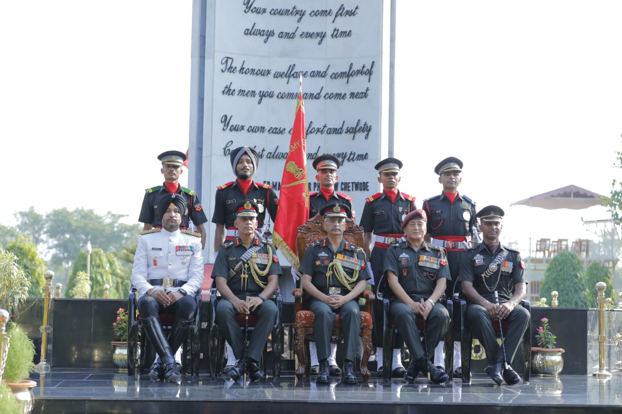 Reviewing Officer with the Medal Winners from the Passing Out Course at Officers' Training Academy, Gaya on 08 Jun 2019