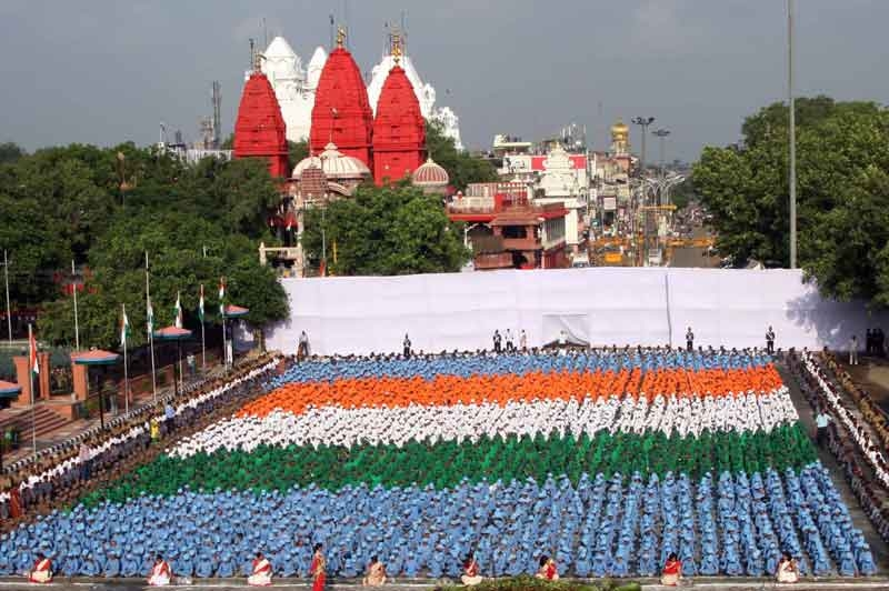 Tricolour formed by the school children