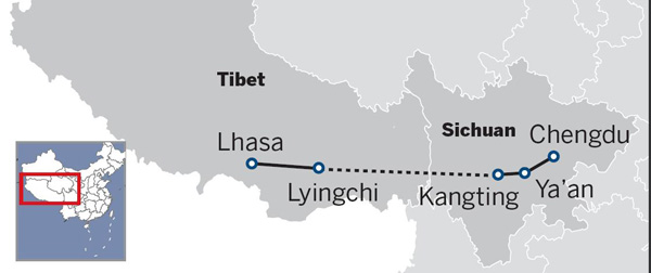 The Sichuan-Tibet rail-line on the way