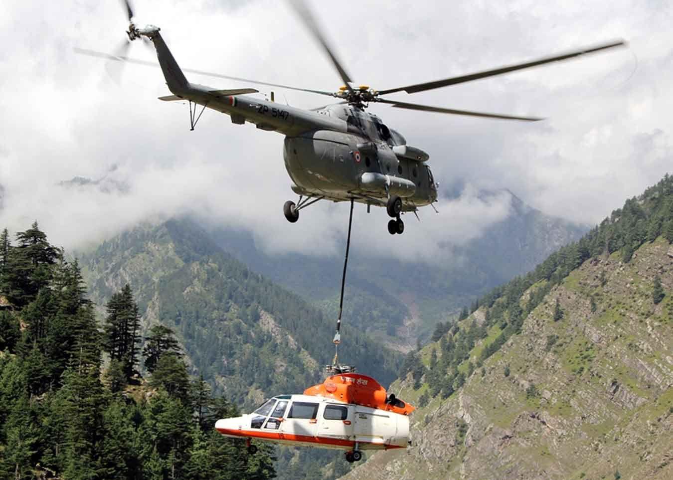 IAF Mi-17V5 Airlifts crashed Pawan Hans Helicopter