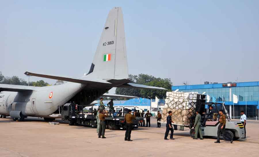 IAF C 130 J leaves on a humanitarian aid mission to Philippines
