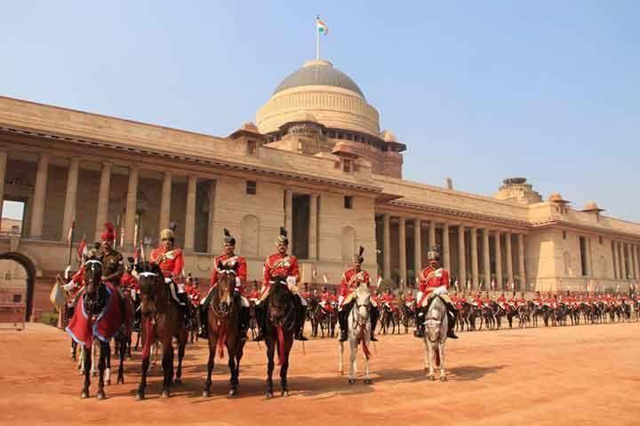 President's Bodyguards assembled in the forecourt of the Rashtrapati Bhavan.