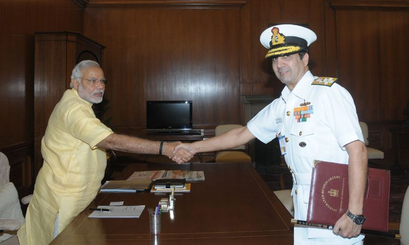 The Chief of Naval Staff, Admiral R.K. Dhavan meeting with Prime Minister Narendra Modi.