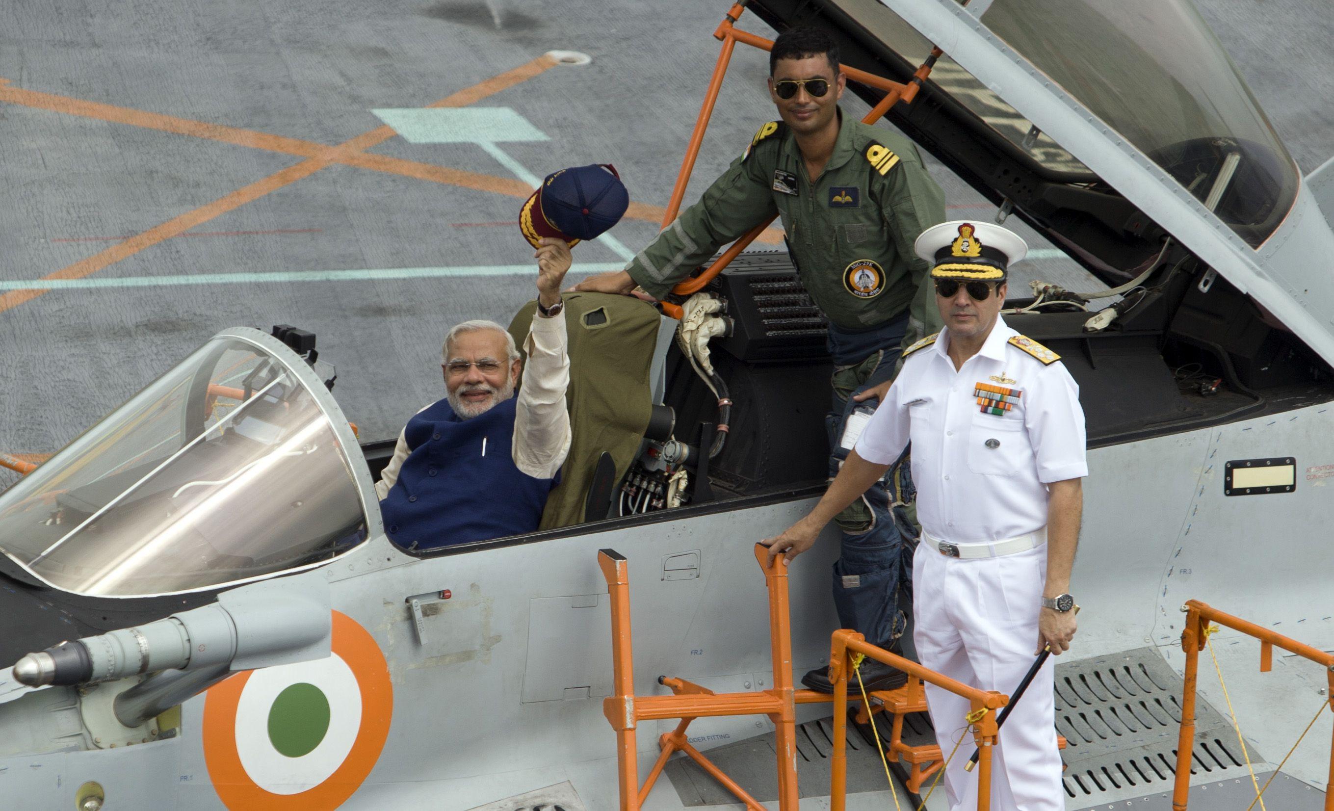 Prime Minister Narendra Modi in the cockpit of MiG 29K.