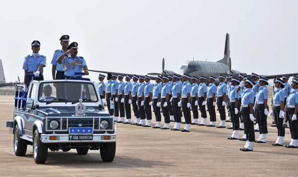Air Chief Marshal Arup Raha reviewing the Graduation Parade