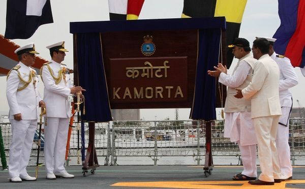 INS Kamorta commissioned into the Indian Navy.