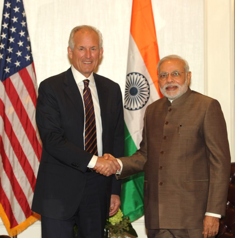 The Chairman and CEO of The Boeing Company, Mr. W. James McNerney meeting the Prime Minister, Shri Narendra Modi.