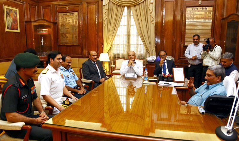 Defence Minister Shri Manohar Parrikar holding a meeting with the senior officials of the Ministry and Armed Forces