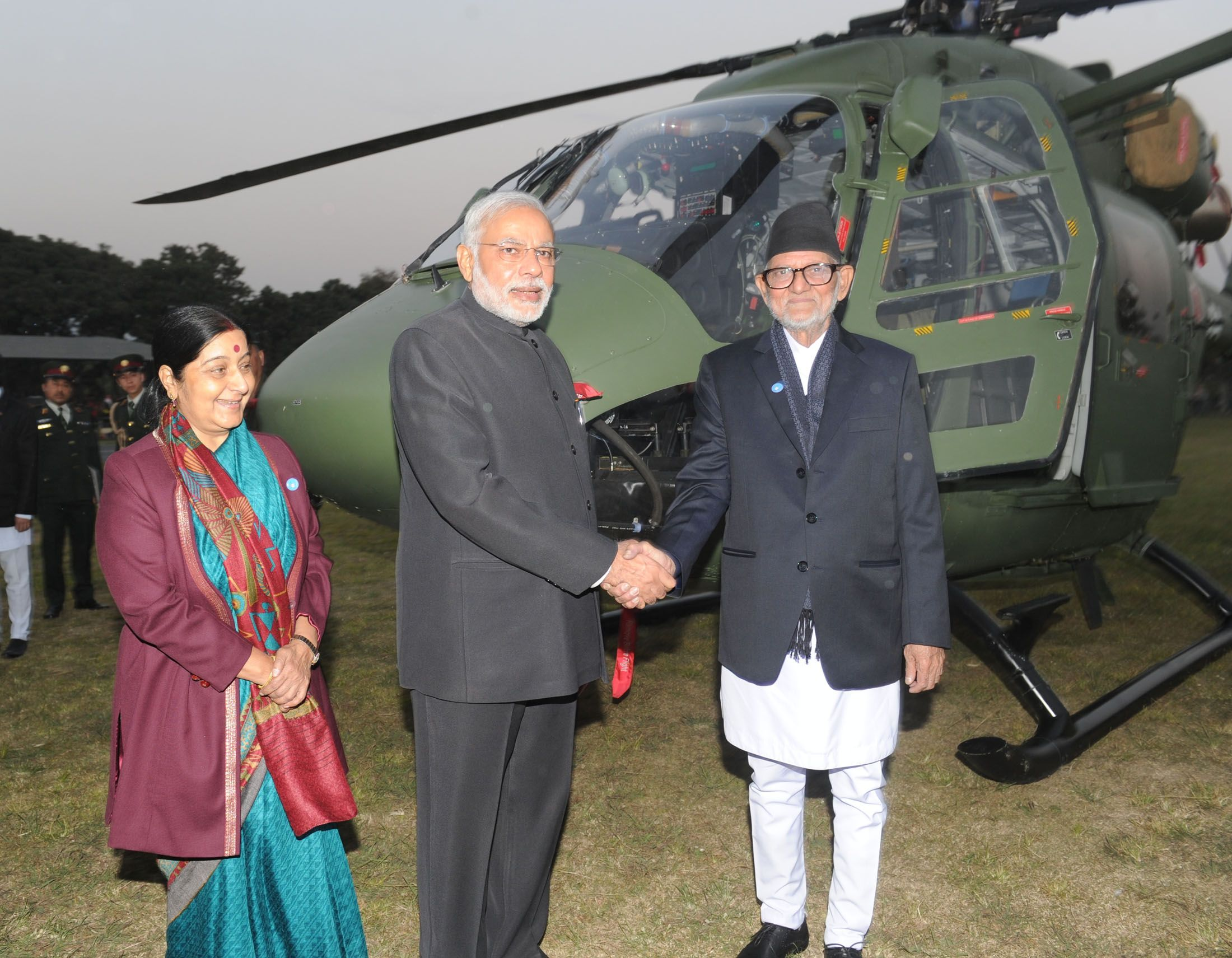 Prime Minister Narendra Modi handing over the Dhruv ALH to Nepal Army