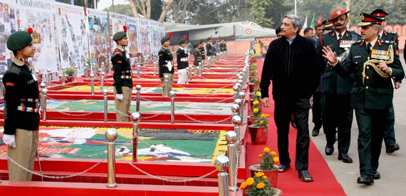 Defence Minister Manohar Parrikar inspecting the flag area, during his visit to the DG NCC Republic Day Camp – 2015