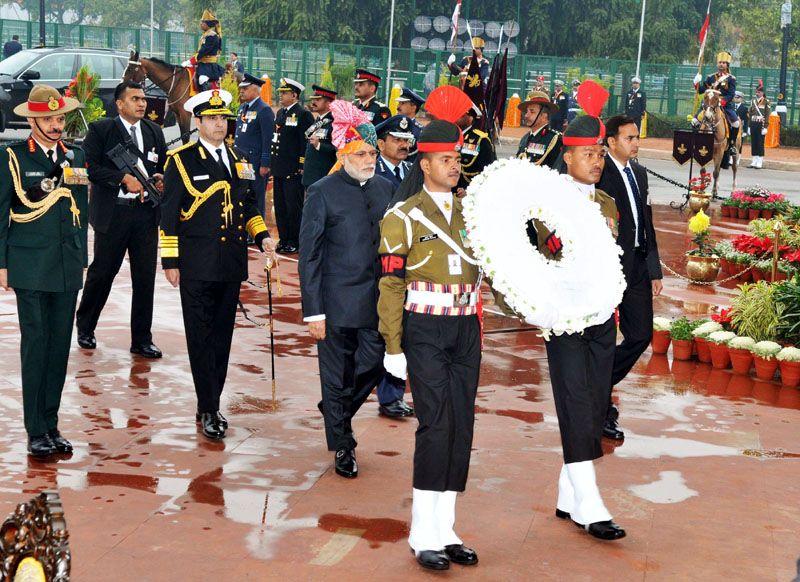 Prime Minister Narendra Modi arriving at the Amar Jawan Jyoti