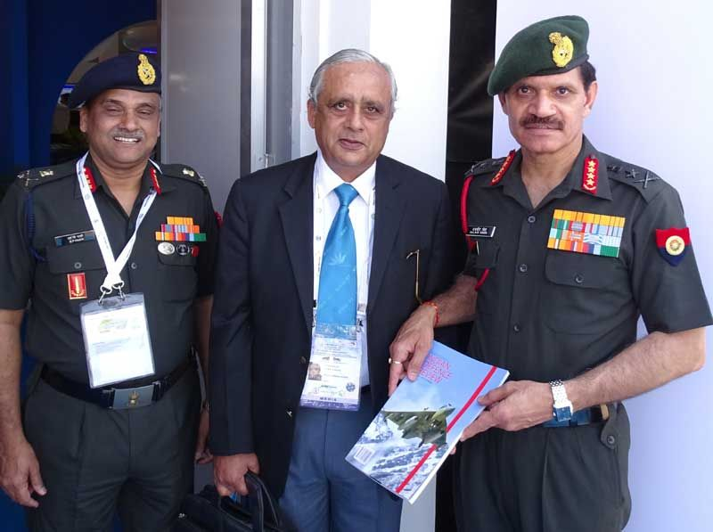 Lt Gen JS Bajwa, Editor presenting the Special Issue of IDR to Gen D S Suhag at Aero India