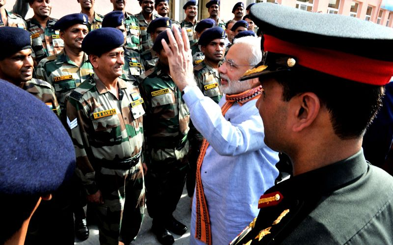 Prime Minister Narendra Modi interacting with the Indian soldiers at the India-Tajik Friendship Hospital