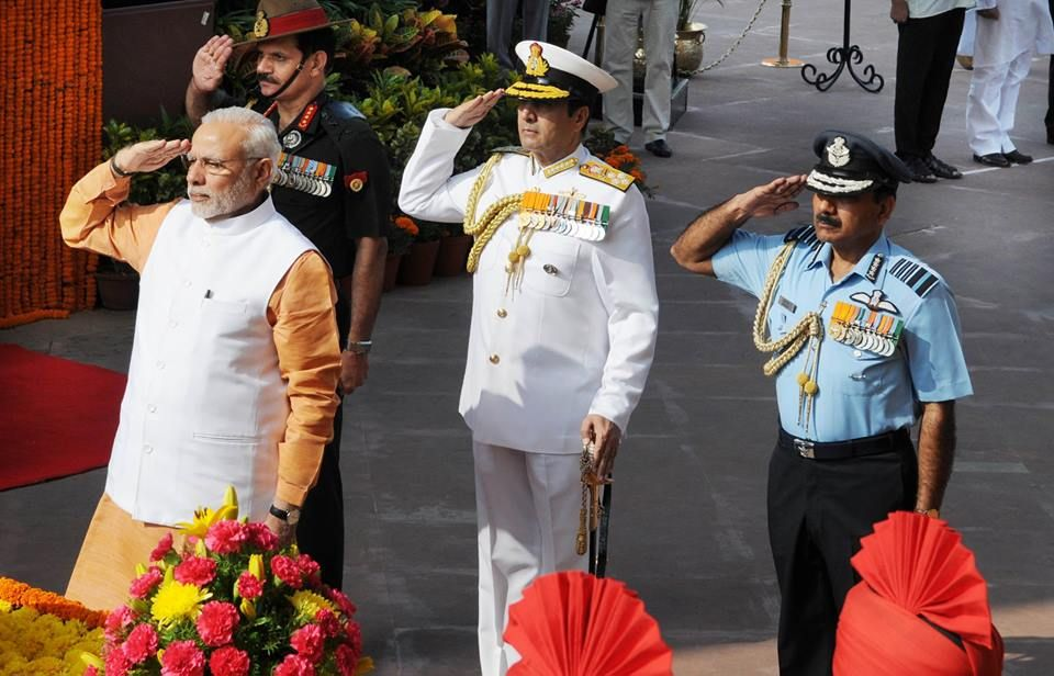 The Prime Minister Narendra Modi pays homage at Amar Jawan Jyoti on the Golden Jubilee to commemorate the victory and sacrifice of Indian soldiers in the 1965 war