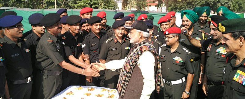 Narendra Modi with the soldiers at the Dograi War Memorial
