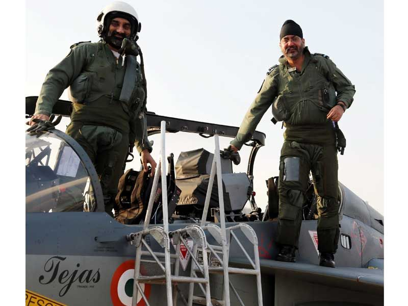 COAS Air Chief Marshal BS Dhanoa flies the LCA Tejas at Aero India 2017