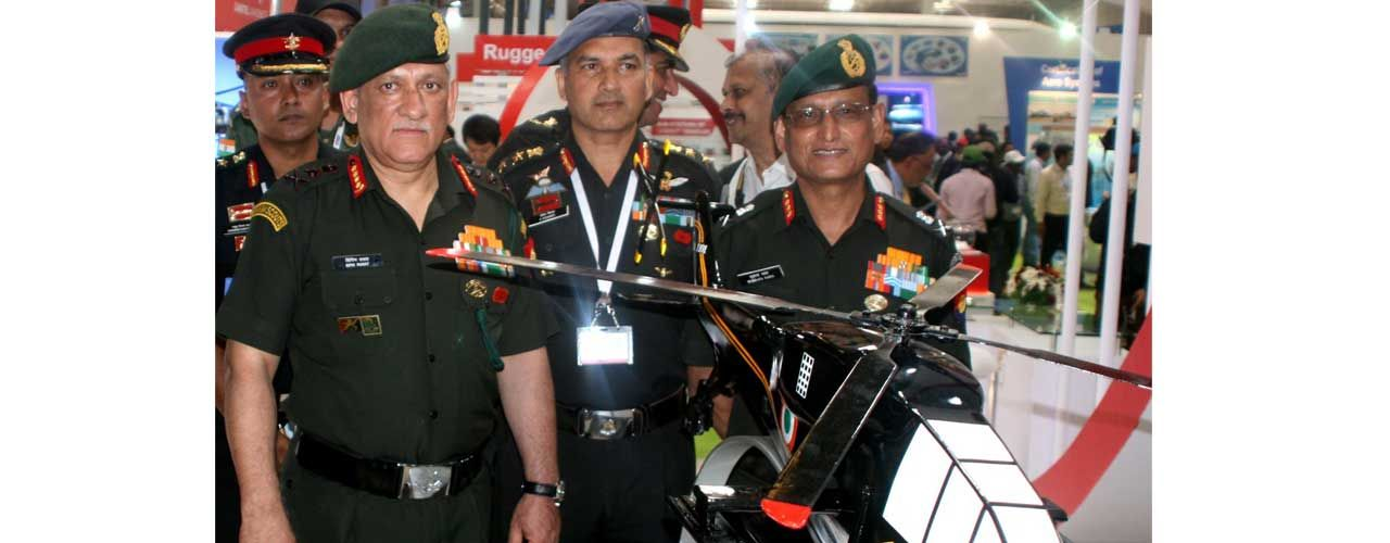 COAS Gen Bipin Rawat at Army Aviation Pavilion at Aero India 2017