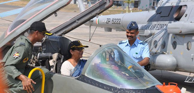 Defence Minister inside the Cockpit of MiG 29 Fighter Aircraft