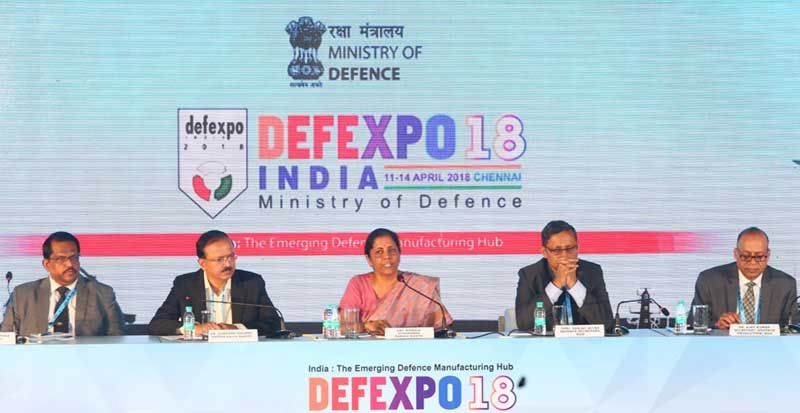 Defence Minister Nirmala Sitharaman addressing the media on DefExpo India – 2018
