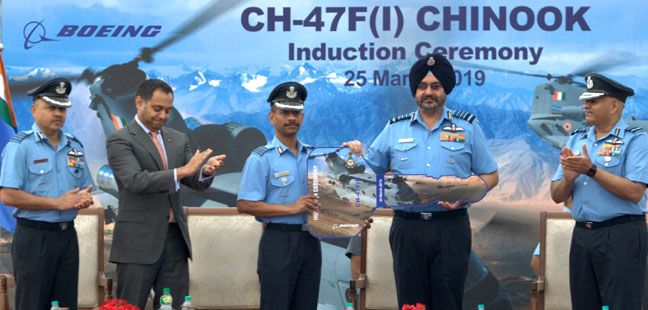 Induction ceremony of CH-4F (I) Chinook heavy lift Helicopters