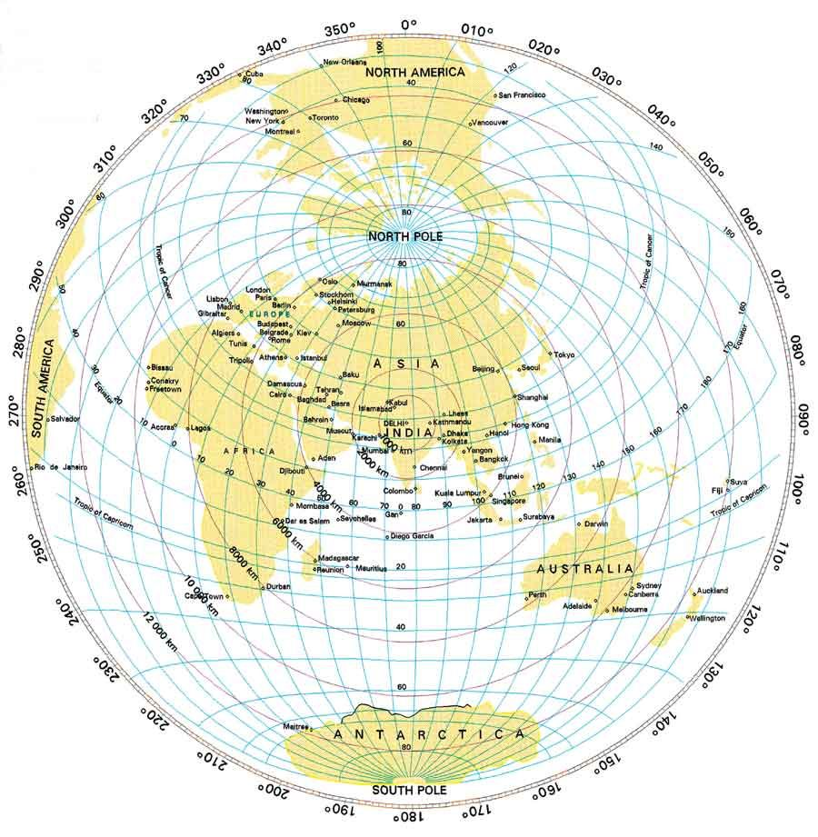 An equidistant map of the world