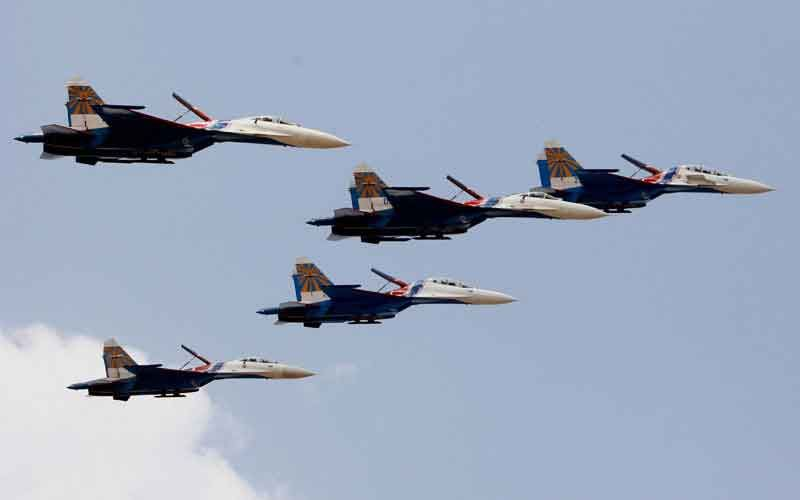 Aerobatic display by Russian Knight Riders